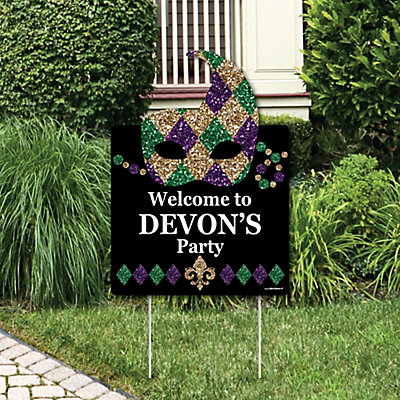 Mardi Gras Party Decorations Masquerade Party Personalized Welcome Yard Sign