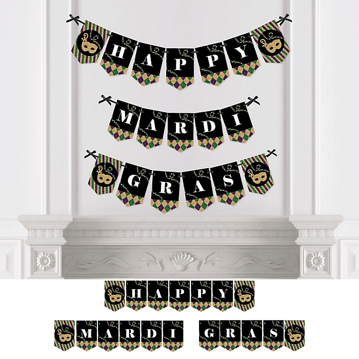 Mardi Gras - Personalized Masquerade Party Bunting Banner & Decorations