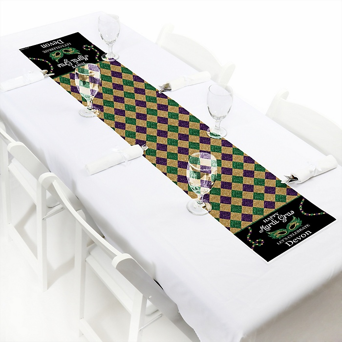 "Mardi Gras - Personalized Petite Masquerade Party Table Runner - 12"" x 60"""