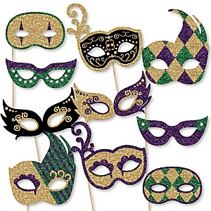 Mardi Gras Masks - 10 Piece Paper Card Stock Mardi Gras Glasses and Masks Photo Booth Props Kit