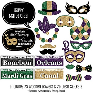 Mardi Gras - 20 Piece Mardi Gras Photo Booth Props Kit
