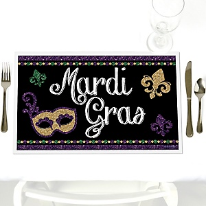 Mardi Gras - Party Table Decorations - Masquerade Party Placemats - Set of 12