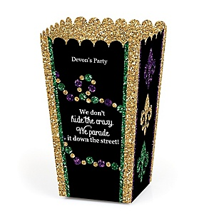 Mardi Gras - Personalized Masquerade Party Popcorn Favor Treat Boxes - Set of 12
