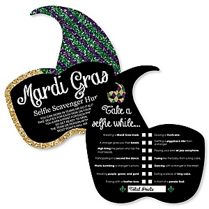 Mardi Gras - Selfie Scavenger Hunt - Masquerade Party Game - Set of 12