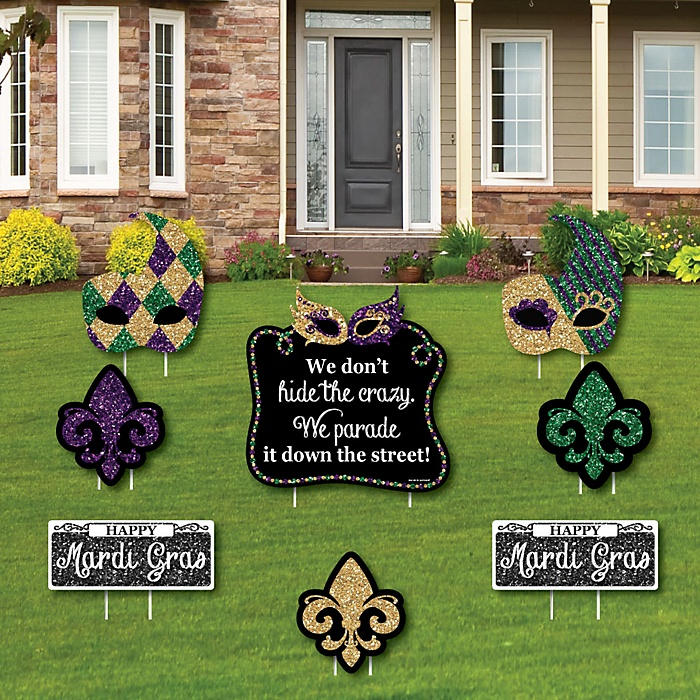 Mardi Gras - Yard Sign & Outdoor Lawn Decorations - Masquerade Party Yard Signs - Set of 8