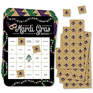Mardi Gras - Bar Bingo Cards and Markers - Masquerade Party Bingo Game - Set of 18