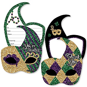 Mardi Gras - 20 Shaped Fill-In Invitations and 20 Shaped Thank You Cards Kit - Masquerade Party Stationery Kit - 40 Pack