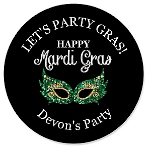 Mardi Gras - Personalized Masquerade Party Sticker Labels - 24 ct
