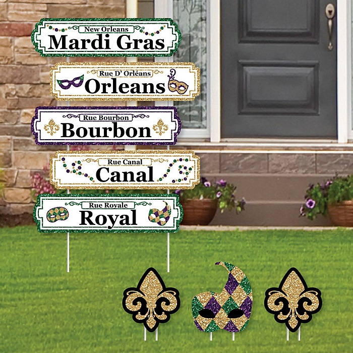 Mardi Gras Street Sign Cutouts - Masquerade Party Yard Signs & Decorations - Set of 8