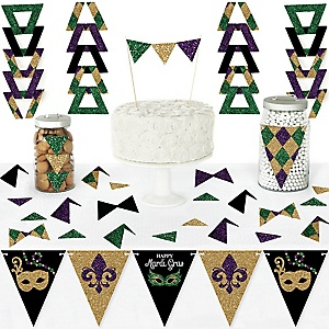 Mardi Gras - DIY  Pennant Banner Decorations - Masquerade Party Triangle Kit - 99 Pieces