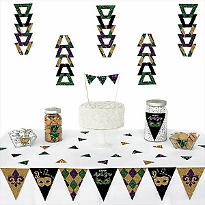 Mardi Gras - Triangle Masquerade Party Decoration Kit - 72 Piece