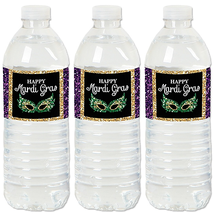 Mardi Gras - Masquerade Party Water Bottle Sticker Labels - Set of 20
