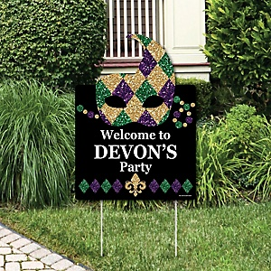 Mardi Gras - Party Decorations - Masquerade Party Personalized Welcome Yard Sign