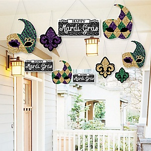 Hanging Mardi Gras - Outdoor Masquerade Party Hanging Porch & Tree Yard Decorations - 10 Pieces