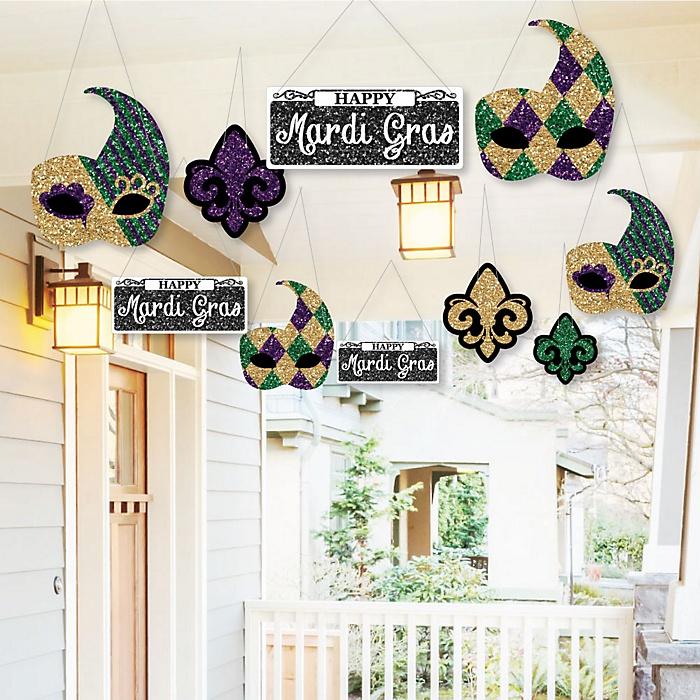 Hanging Mardi Gras - Outdoor Masquerade Party Hanging Porch & Tree Yard Decorations - 10 Pieces