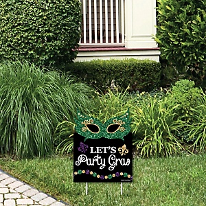 Mardi Gras - Outdoor Lawn Sign - Masquerade Party Yard Sign - 1 Piece