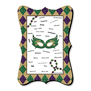 Mardi Gras - Unique Alternative Guest Book - Masquerade Party Signature Mat