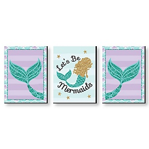 Let's Be Mermaids - Baby Girl Nursery Wall Art, Kids Room Decor & Home Decorations - 7.5 x 10 inches - Set of 3 Prints