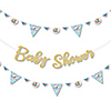 Let's Be Mermaids - Baby Shower Letter Banner Decoration - 36 Banner Cutouts and No-Mess Real Gold Glitter Baby Shower Banner Letters