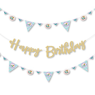 lets be mermaids birthday party letter banner decoration 36 banner cutouts and happy birthday no mess real gold glitter happy birthday banner letters