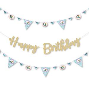 Let's Be Mermaids - Birthday Party Letter Banner Decoration - 36 Banner Cutouts and Happy Birthday No-Mess Real Gold Glitter Happy Birthday Banner Letters