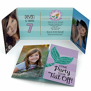 Let's Be Mermaids - Personalized Birthday Party Photo Invitations - Set of 12