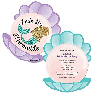 Let's Be Mermaids - Shaped Birthday Party Invitations - Set of 12