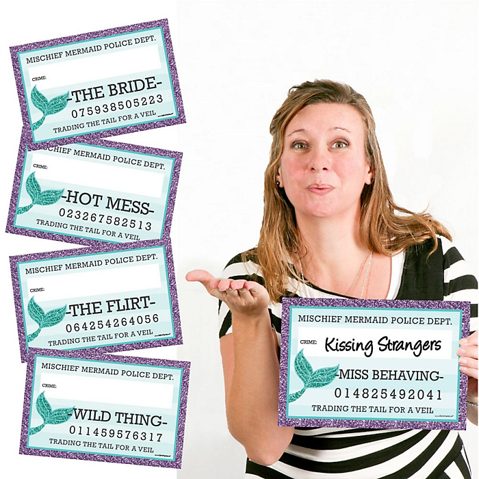 Trading The Tail For A Veil - Mermaid Bachelorette Party or Bridal Shower Mug Shots - 20 Piece Photo Booth Props Kit