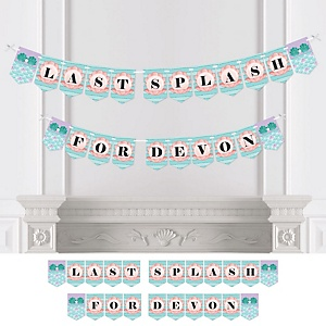 Trading The Tail For A Veil - Personalized Mermaid Bachelorette Party or Bridal Shower Bunting Banner & Decorations