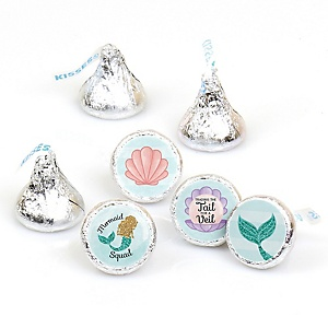 Trading The Tail For A Veil - Round Candy Labels Mermaid Bachelorette Party or Bridal Shower Favors - Fits Hershey's Kisses - 108 ct
