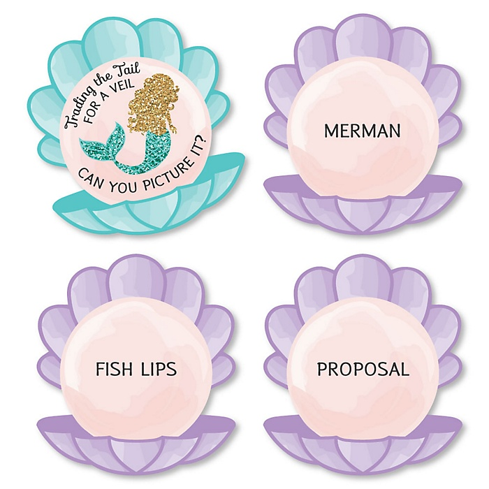 Trading The Tail For A Veil - Mermaid Bachelorette or Bridal Shower Game - Can You Picture It Card Game - Set of 24