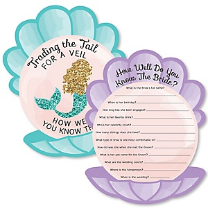 Trading The Tail For A Veil - Mermaid Bachelorette or Bridal Shower Game - How Well Do You Know The Bride Game - Set of 20