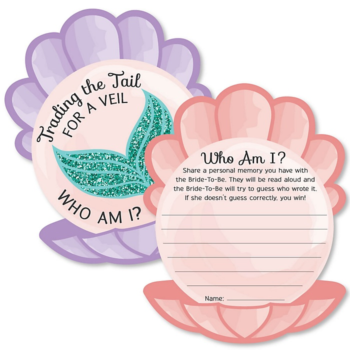 Trading The Tail For A Veil - Mermaid Bachelorette or Bridal Shower Game - Who Am I Game Cards - Set of 20