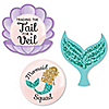 Trading The Tail For A Veil - DIY Shaped Mermaid Bachelorette Party or Bridal Shower Cut-Outs - 24 ct