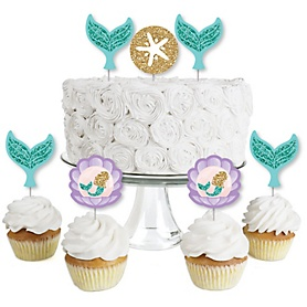 Let's Be Mermaids - Dessert Cupcake Toppers - Baby Shower or Birthday Party Clear Treat Picks - Set of 24