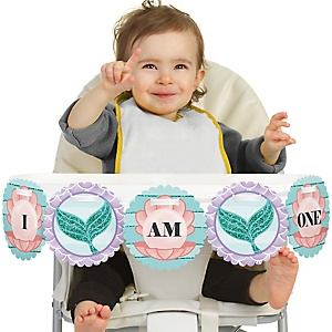 Let's Be Mermaids 1st Birthday - I am One - First Birthday High Chair Banner