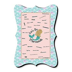 Let's Be Mermaids - Mermaid Party Unique Alternative Guest Book - Baby Shower or Birthday Party Signature Mat