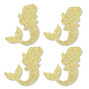 Gold Glitter Mermaid - No-Mess Real Gold Glitter Cut-Outs - Baby Shower or Birthday Party Confetti - Set of 24