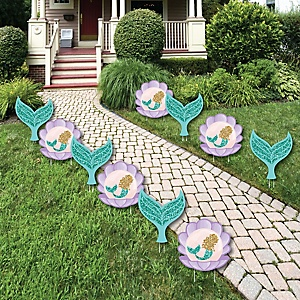 Let's Be Mermaids - Mermaid & Seashell Lawn Decorations - Outdoor Baby Shower or Birthday Party Yard Decorations - 10 Piece