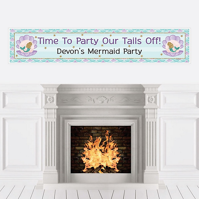 Let's Be Mermaids - Personalized Baby Shower or Birthday Party Banners
