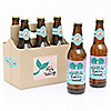 Let's Be Mermaids - 6 Beer Bottle Labels and 1 Carrier - Girl Baby Gift