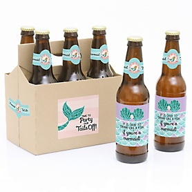 Let's Be Mermaids - Decorations for Women and Men - 6 Beer Bottle Labels and 1 Carrier - Girl Baby Gift
