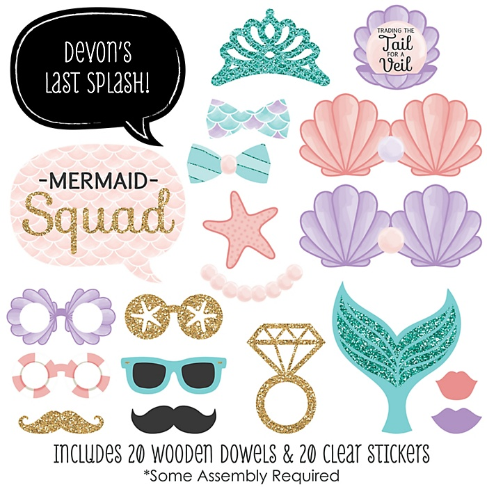 Trading The Tail For A Veil - 20 Piece Mermaid Bachelorette Party or Bridal Shower Photo Booth Props Kit