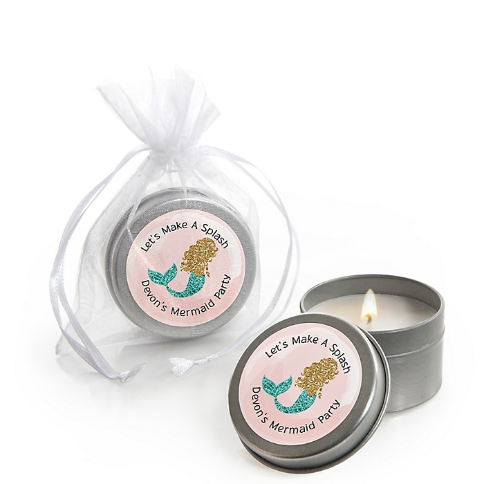 Let's Be Mermaids - Personalized Baby Shower Candle Tin Favors - Set of 12