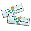 Let's Be Mermaids - Personalized Candy Bar Wrappers Baby Shower or Birthday Party Favors - Set of 24