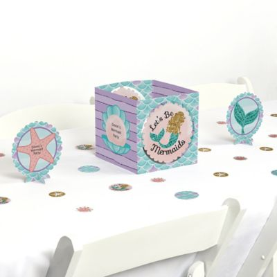 Lets Be Mermaids Baby Shower or Birthday Party Table Decorating