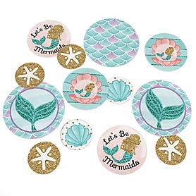 Let's Be Mermaids - Baby Shower or Birthday Party Giant Circle Confetti - Mermaid Party Decorations - Large Confetti 27 Count