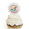 Let's Be Mermaids - 12 Cupcake Picks & 24 Personalized Stickers - Baby Shower or Birthday Party Cupcake Toppers