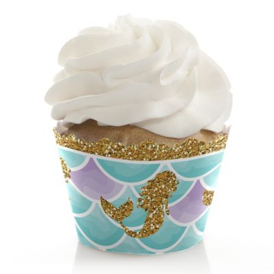 Letu0027s Be Mermaids   Baby Shower Or Birthday Party Cupcake Wrappers U0026  Decorations