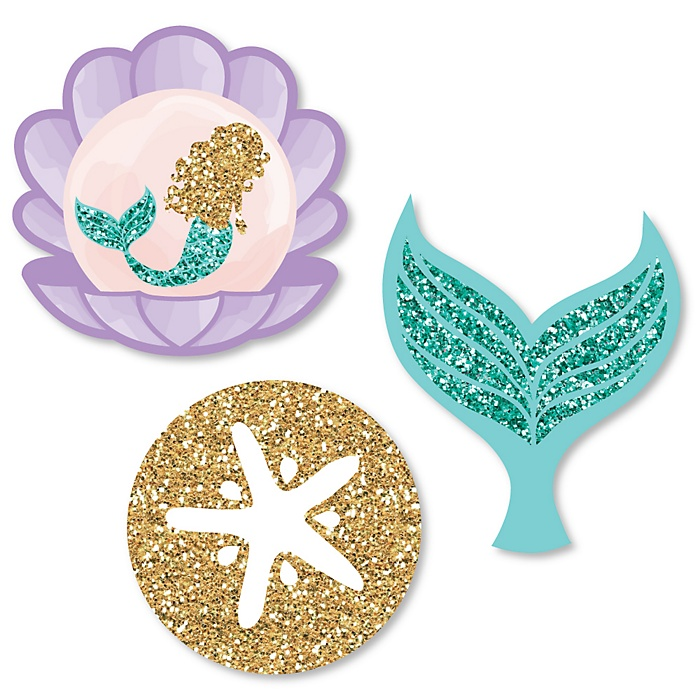 Let's Be Mermaids - DIY Shaped Baby Shower or Birthday Party Paper Cut-Outs - 24 ct